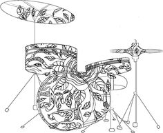 Adult Coloring Pages: Drums
