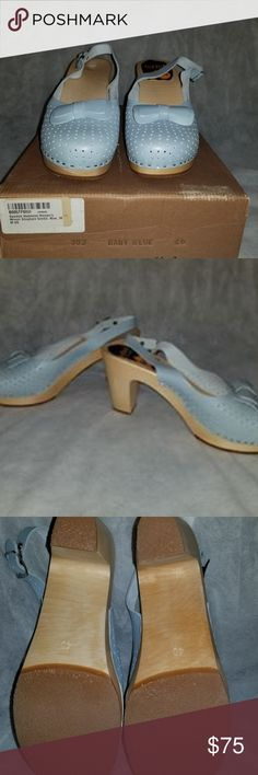 New! NWB! SWEDISH HASBEENS Powder Blue Slingbacks Size 9 US Swedish Hasbeens Slingback Clogs. New with box.  Check out my other listings! I love to give discounts for bundles!!!  From a smoke free home. Swedish Hasbeens Shoes Mules & Clogs