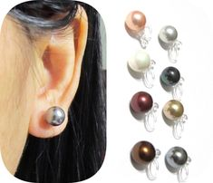 8mm Shell Pearl Clip On Earrings |10A| Non pierced earrings invisible clip-on comfortable bridal clip-on painless wedding clip on earrings