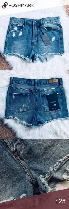High Waisted Ripped Cut Off Bronte Jean Shorts This jean shorts sit nicely on the hips and allow you to show off your sexy legs!  NEW WITH TAGS.  Bundle 3+ items to save 20%! Denim Colab Shorts Jean Shorts