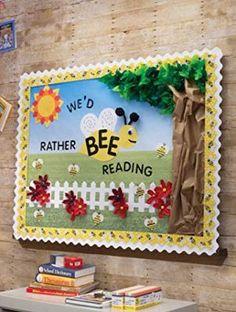 Bee themed library bulletin board – We'd rather BEE Reading Garden Theme Classroom, Preschool Classroom Decor, Preschool Bulletin Boards, Classroom Themes, Preschool Library, Seasonal Classrooms, Primary Classroom, Future Classroom, Summer Bulletin Boards