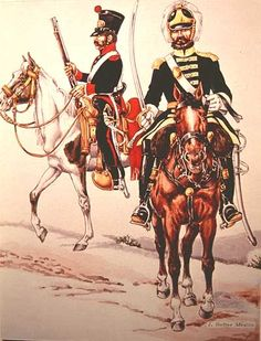 "Joseph Hefter, ca. 1971 illustration of military uniforms:  ""Trooper, Coahuila-Texas Civic Militia, 1835, service dress"" (left)  and ""Officer, Texas Dragoons, 1836, service dress."""