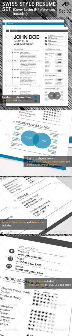 graphicriver—3-piece swiss style resume set