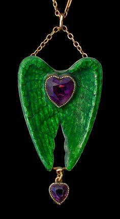 CHILD & CHILD 1880-1915  Winged Heart Pendant / Brooch  in the Pre-Raphaelite style   Silver Gold Enamel Amethyst