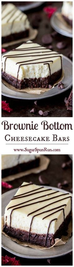 Brownie Cheesecake Bars -- fudgy brownies with a thick layer of real, rich, cheesecake on top    Sugar Spun Run via @sugarsunrun