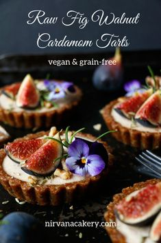 Raw Fig Walnut Cardamom Tarts (grain-free & vegan) - Nirvana Cakery