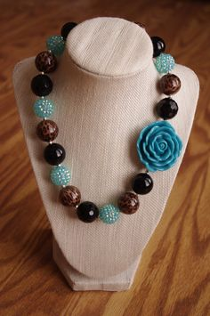 Teal, black, and leopard chunky beaded necklace, with flower on Etsy, $19.00