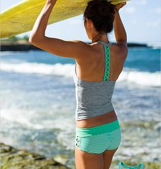 Athleta Swim top and Bottom grey and green
