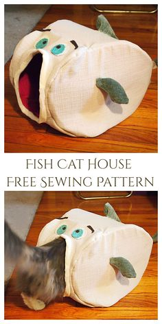 DIY Fish Cat House Sew Free Pattern & Tutorial Sewing Patterns Free, Free Sewing, Free Pattern, Fish, Pets, House, Animals And Pets, Home, Haus