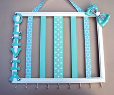 Hair bow and headband holder, personalized, 11x14 picture frame, hair accessories organizer, white, tiffany blue, rhinestone room decor on Etsy, $41.00