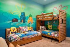 """Kids will love sleeping next to a """"pineapple under the sea"""" in this SpongeBob SquarePants-themed bedroom Master Bedroom Interior, Room Ideas Bedroom, Baby Bedroom, Bedroom Themes, Dream Bedroom, Kids Bedroom, Bedroom Decor, Bedroom Furniture, Bedrooms"""