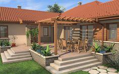 Village House Design, Village Houses, Villas, Front Verandah, House Plans One Story, Backyard, Patio, River House, Dream Home Design