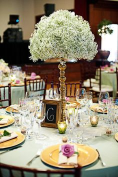 Style Me Pretty | Gallery | Picture | #585991 Baby's Breath centerpieces