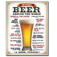 New Tin Sign Made in USA A Beer How To Order A Beer Around The World Please