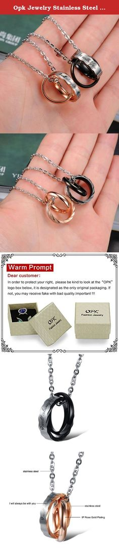 """Opk Jewelry Stainless Steel Macthing Couple Necklaces """"I Will Always Be with You"""" Ring Band Circle Hook-ups Pendent Promise Love Wedding Jewel Gift with Chain. Brand name:OPK Condition: 100% Brand new Quantity: 1 pair. Metal: Stainless steel Gender:Unisex. packaging: OPP bag inside,and giving a beautiful box as a gift. More Details: as the pictures show Why choose OPK Jewellery? OPK is a well-known brand in the jewellery field.Its mission is to provide the most fashionable and beautiful…"""