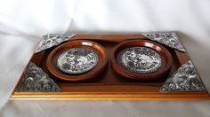 New Handcraft Wood Coasters Elephants Circle Shape Saucers With Tray Set #MoreServices