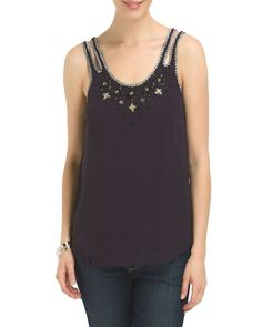FRENCH CONNECTION Navy Blue Beaded Sleeveless Tank Top Cami Shell 6 S NWT $148 #FrenchConnection #Blouse #EveningOccasion