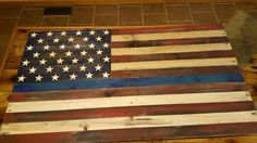 Pallet wood thin blue line flag