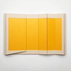 "Robert Moreland Untitled Yellow II - 48"" x 75"" x 5.5"" Canvas & paint over wood"