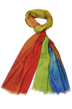 Before you juggle your warm weather wardrobe try diversifying your present pieces with summer scarves. Just one quirky tied scarf can make trending outfit look and feel brand new! This vintage scarf is an affordable way to diversify your wardrobe also the rescuer to bad hair days. Their accessorizing potential is boundless.  Size: 80'' x 40''  Rainbow Scarf by Violet Del Mar. Accessories - Scarves & Wraps San Diego California