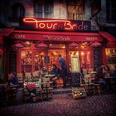 Cafe on Rue Mouffetard in Paris.