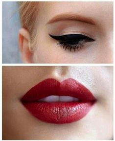 Wing tips and Red Lips:: Pin Up Girl Makeup:: Retro eyeliner:: Vintage Makeup:: Wing Tips