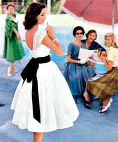 50s fashion white dress black bow sash full skirt lace day wear