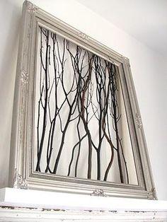 #DIY Framed tree branch wall art : DIY Wood Crafts Recycle