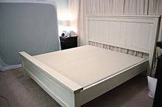 DIY bed frame $150 by anne I like the hidden box spring. Tuck comforter into sides