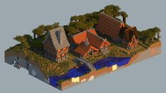 With a slightly different palette, this'd be a great wood-elf village Minecraft Medieval Buildings, Villa Minecraft, Minecraft Bridges, Minecraft Statues, Minecraft Mansion, Minecraft Castle, Minecraft Plans, Minecraft Survival, Minecraft Architecture