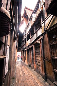 A photo of Bryggen's old alleys.
