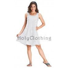 White Ivory Cailean Satin Gypsy Boho Baby Doll Empire Mini Summer Sun Dress
