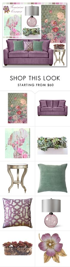 """Feminine Corner"" by stephlo-1 ❤ liked on Polyvore featuring interior, interiors, interior design, home, home decor, interior decorating, The Rug Market, Oliver Gal Artist Co., Crestview Collection and Bandhini Homewear Design"