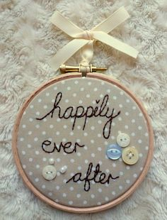 Embroidery Hoop Art Wedding Gift  Happily Ever by CygneusCrafts, £10.00