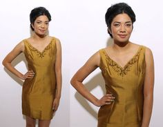vintage 1960's gold muted ochre satin party dress beaded sequin studded black embellished yellow mini unique cocktail gown M L