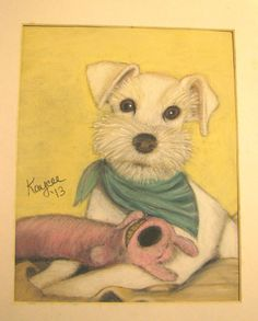 """Aldo's Favorite Toy,"" pastel portrait of miniature schnauzer by Kaycee L. Brown."