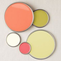 Love this paint color combo! Coral, cream and lime with punches of pink    fresh paint palette