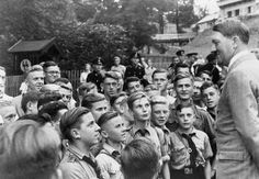 Adolf Hitler meets with boys of the Hitler-Jugend (Hitler Youth). Obersalzberg, Bavaria. Ca. 1937.