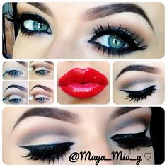 Dramatic twist to the all time classic winged liner & red lips