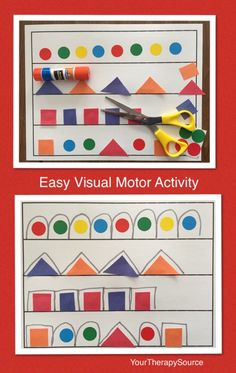 easy visual motor activity - download the template at http://yourtherapysource.com/freeeasyvisual.html