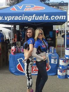 Natalia and Jacey at VP Racing Fuels booth at AMA Supercross at San Diego