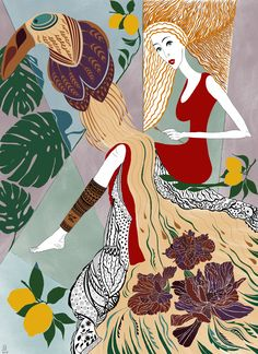 Lady in red is playing with toucan The Borrowers, Lady In Red, Digital Art, Feather, Female, Flowers, Inspiration, Lemon, Inspired