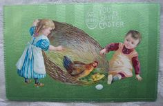 icollect247.com Online Vintage Antiques and Collectables - 1913 Easter Postcard with Children and Chicken with Nest
