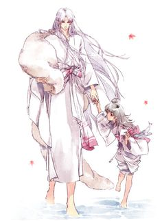 """This is beautiful. Love the painting style! Sesshomaru and Rin from """"Inuyasha"""""""