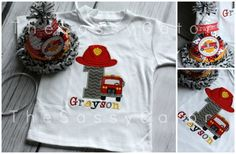 FIRETRUCK BIRTHDAY Personalized Applique T-Shirt-Birthday Party-Photos-Dress Up-FIre Man-Fire Truck on Etsy, $26.99