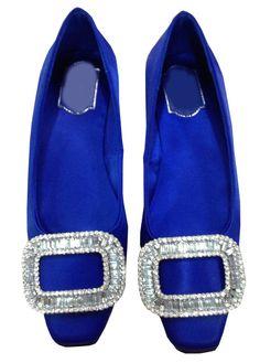 Blue Square Toe Jewelled Flat Shoes - Sheinside.com