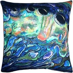 Pillow Decor Shoal Cape Abalone Close Up Throw Pillow 20x20 ($87) ❤ liked on Polyvore