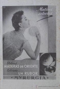 PUBLICIDAD : POLVOS MADERAS DE ORIENTE - MYRURGIA. AÑOS 50.