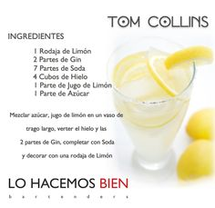 a Tom Collins - Party with style! Bar Drinks, Alcoholic Drinks, Tom Collins Cocktails, Mixology Bar, Cocktail Shots, Gin And Tonic, Summer Drinks, Mixed Drinks, Healthy Drinks