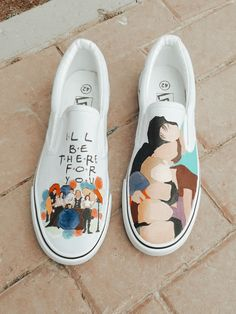 Friends Tv Quotes, Friends Moments, Friends Tv Show, Just Friends, Customised Vans, Custom Vans, Custom Shoes, Painted Vans, Painted Shoes